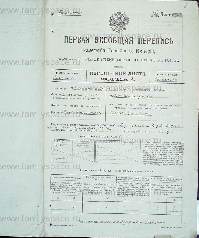 Поиск по фамилии - Первая всеобщая перепись населения Российской империи 1897 года, Рязанская губерния, Зарайский уезд, страница 1
