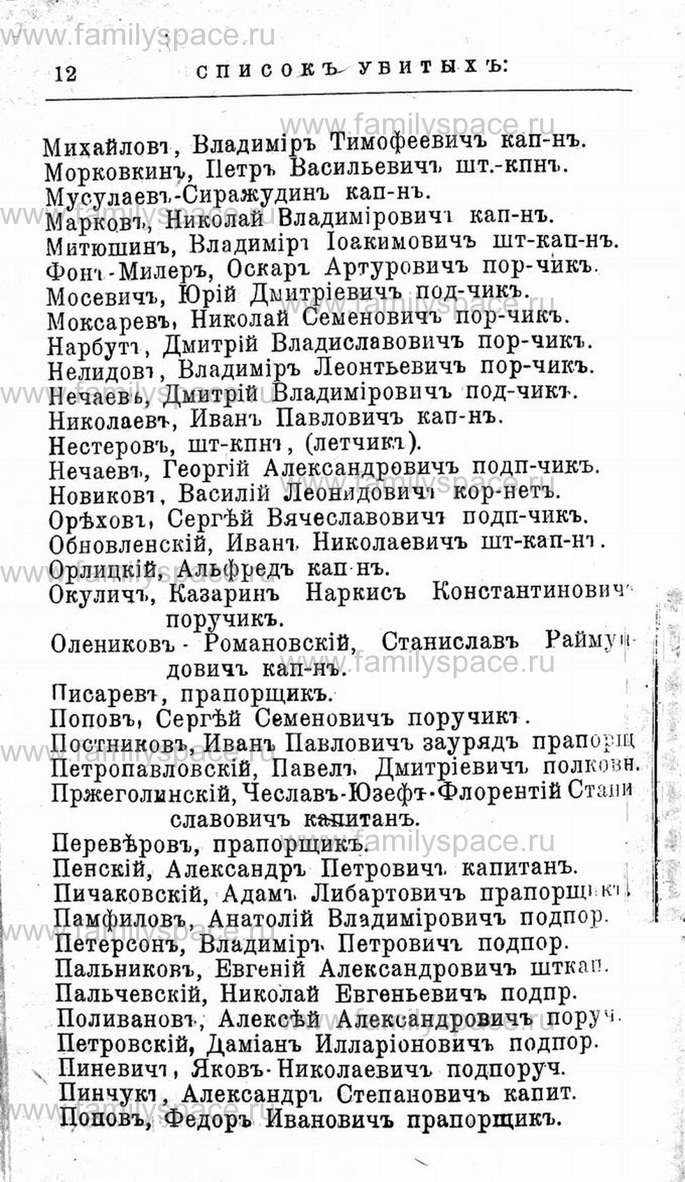 Поиск по фамилии - Первая мировая война - 1914 (списки убитых и раненых), страница 12