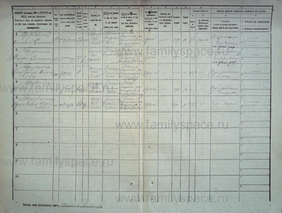 Поиск по фамилии - Первая всеобщая перепись населения Российской империи 1897 года, Рязанская губерния, Зарайский уезд, страница 282