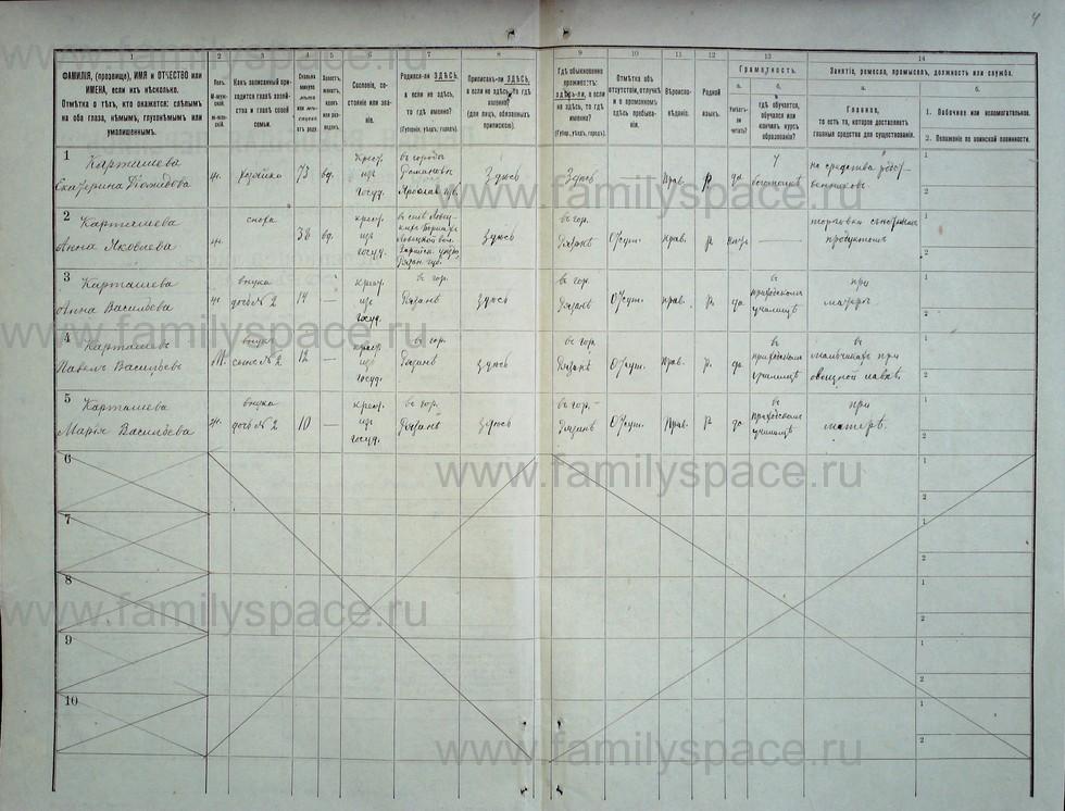 Поиск по фамилии - Первая всеобщая перепись населения Российской империи 1897 года, Рязанская губерния, Зарайский уезд, страница 4