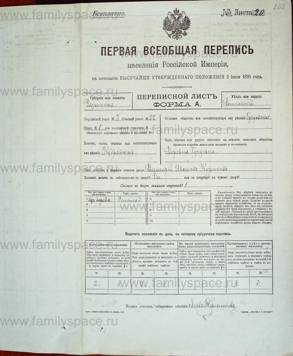 Поиск по фамилии - Первая всеобщая перепись населения Российской империи 1897 года, Рязанская губерния, Данковский уезд, страница 883