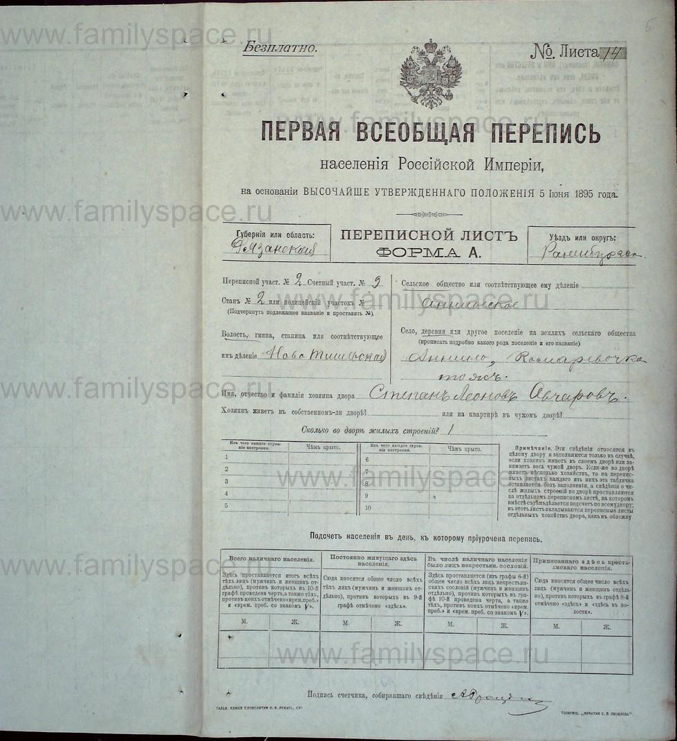 Поиск по фамилии - Первая всеобщая перепись населения Российской империи 1897 года, Рязанская губерния, Раненбургский уезд, страница 5