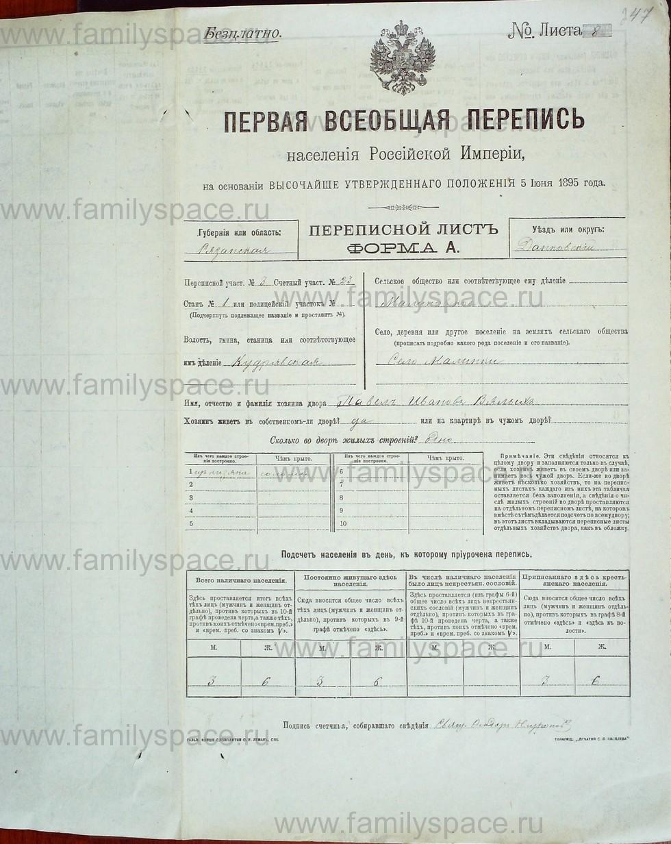 Поиск по фамилии - Первая всеобщая перепись населения Российской империи 1897 года, Рязанская губерния, Данковский уезд, страница 1141