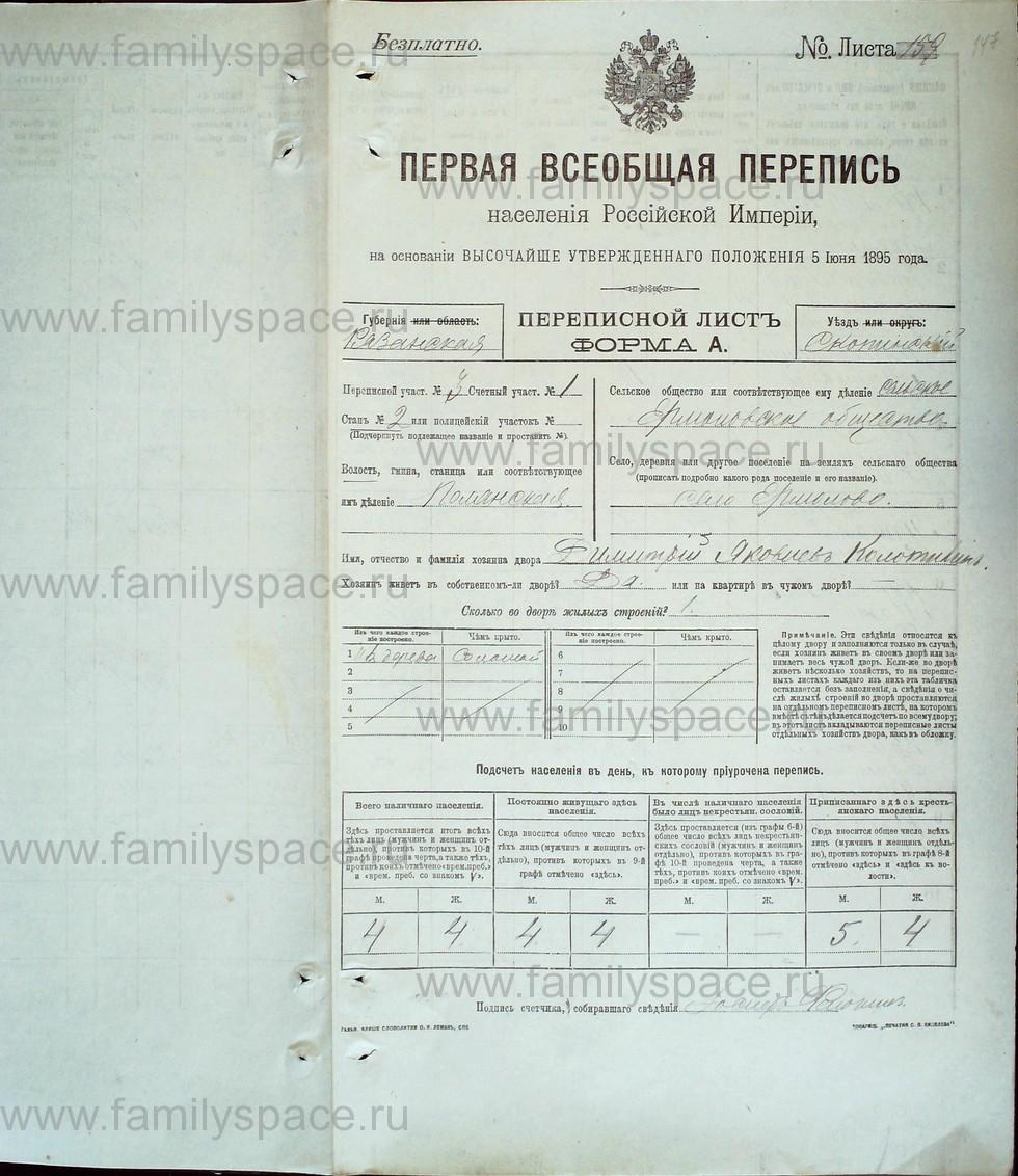 Поиск по фамилии - Первая всеобщая перепись населения Российской империи 1897 года, Рязанская губерния, Скопинский уезд, страница 2056