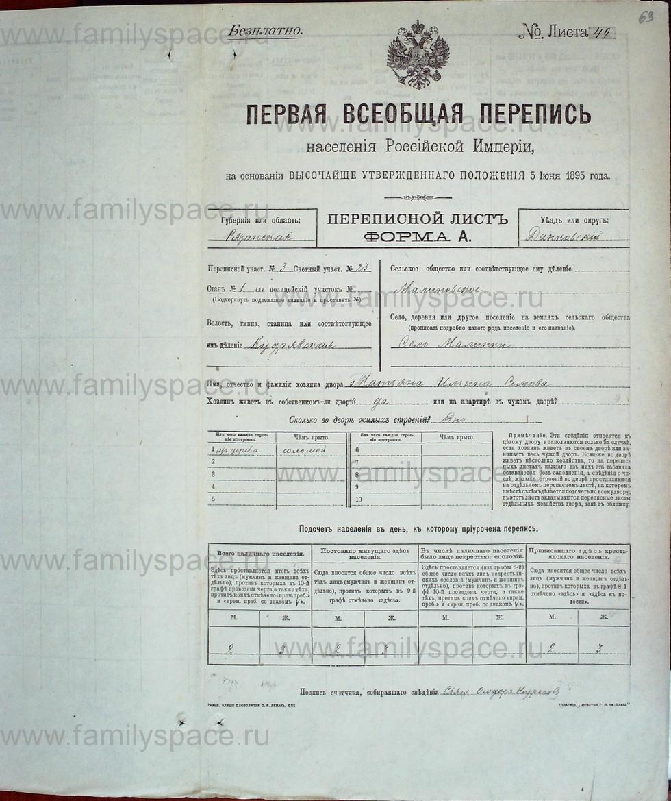 Поиск по фамилии - Первая всеобщая перепись населения Российской империи 1897 года, Рязанская губерния, Данковский уезд, страница 576