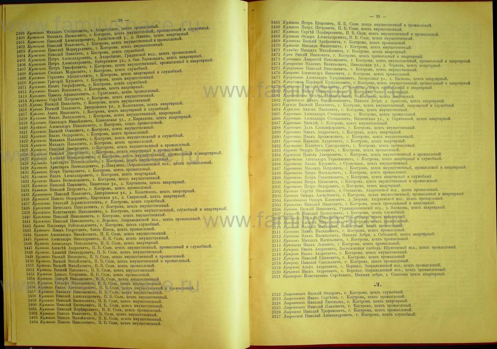Поиск по фамилии - Список лиц, имеющих право участия на съезде городских избирателей по Костромскому уезду 1906г, страница 20