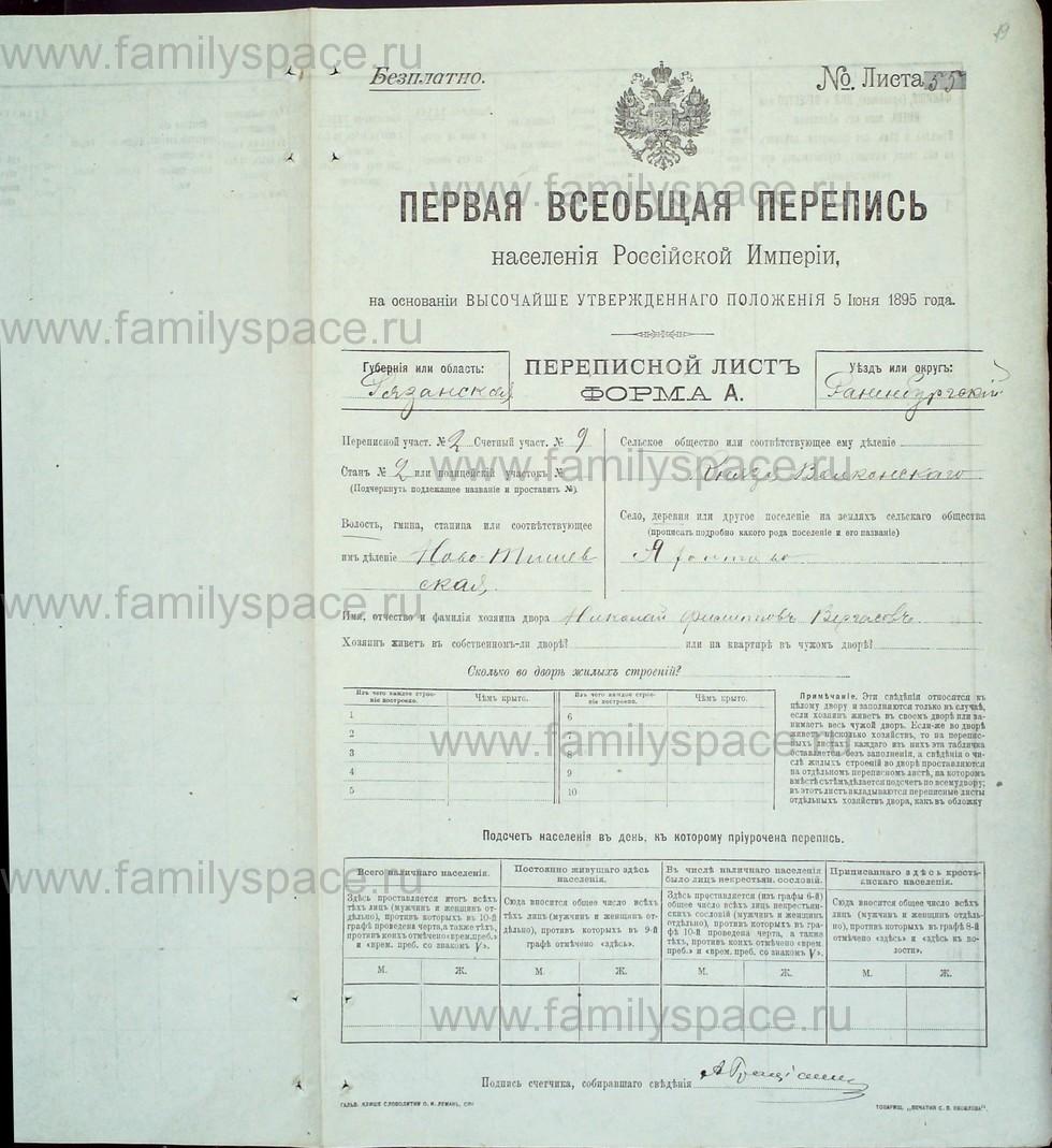 Поиск по фамилии - Первая всеобщая перепись населения Российской империи 1897 года, Рязанская губерния, Раненбургский уезд, страница 19