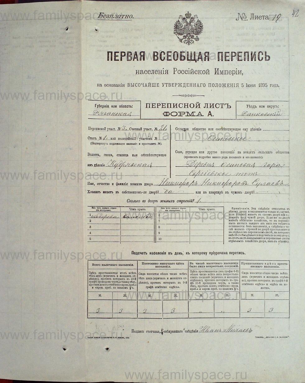 Поиск по фамилии - Первая всеобщая перепись населения Российской империи 1897 года, Рязанская губерния, Данковский уезд, страница 42