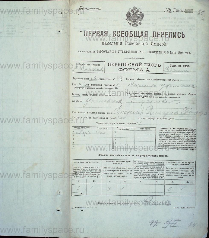 Поиск по фамилии - Первая всеобщая перепись населения Российской империи 1897 года, Рязанская губерния, Ряжский уезд, страница 1071