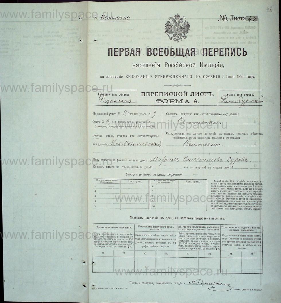 Поиск по фамилии - Первая всеобщая перепись населения Российской империи 1897 года, Рязанская губерния, Раненбургский уезд, страница 43