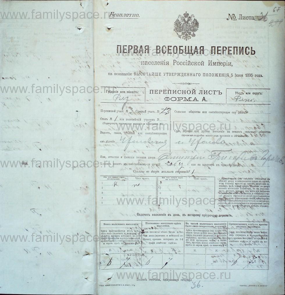 Поиск по фамилии - Первая всеобщая перепись населения Российской империи 1897 года, Рязанская губерния, Ряжский уезд, страница 828