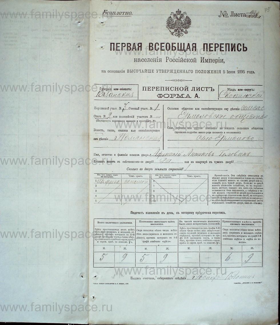 Поиск по фамилии - Первая всеобщая перепись населения Российской империи 1897 года, Рязанская губерния, Скопинский уезд, страница 439