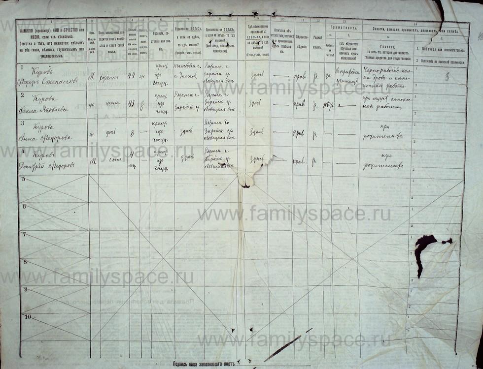 Поиск по фамилии - Первая всеобщая перепись населения Российской империи 1897 года, Рязанская губерния, Зарайский уезд, страница 47