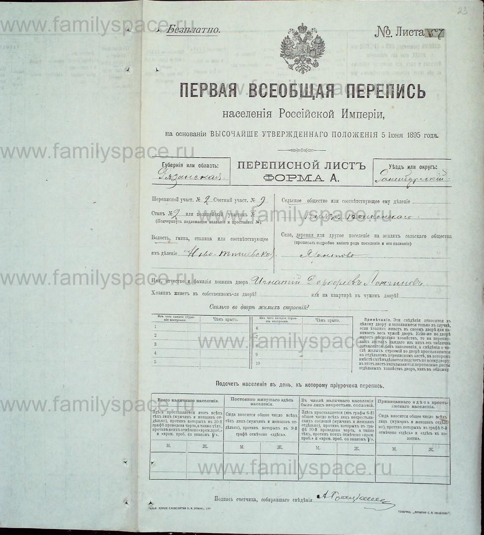 Поиск по фамилии - Первая всеобщая перепись населения Российской империи 1897 года, Рязанская губерния, Раненбургский уезд, страница 23