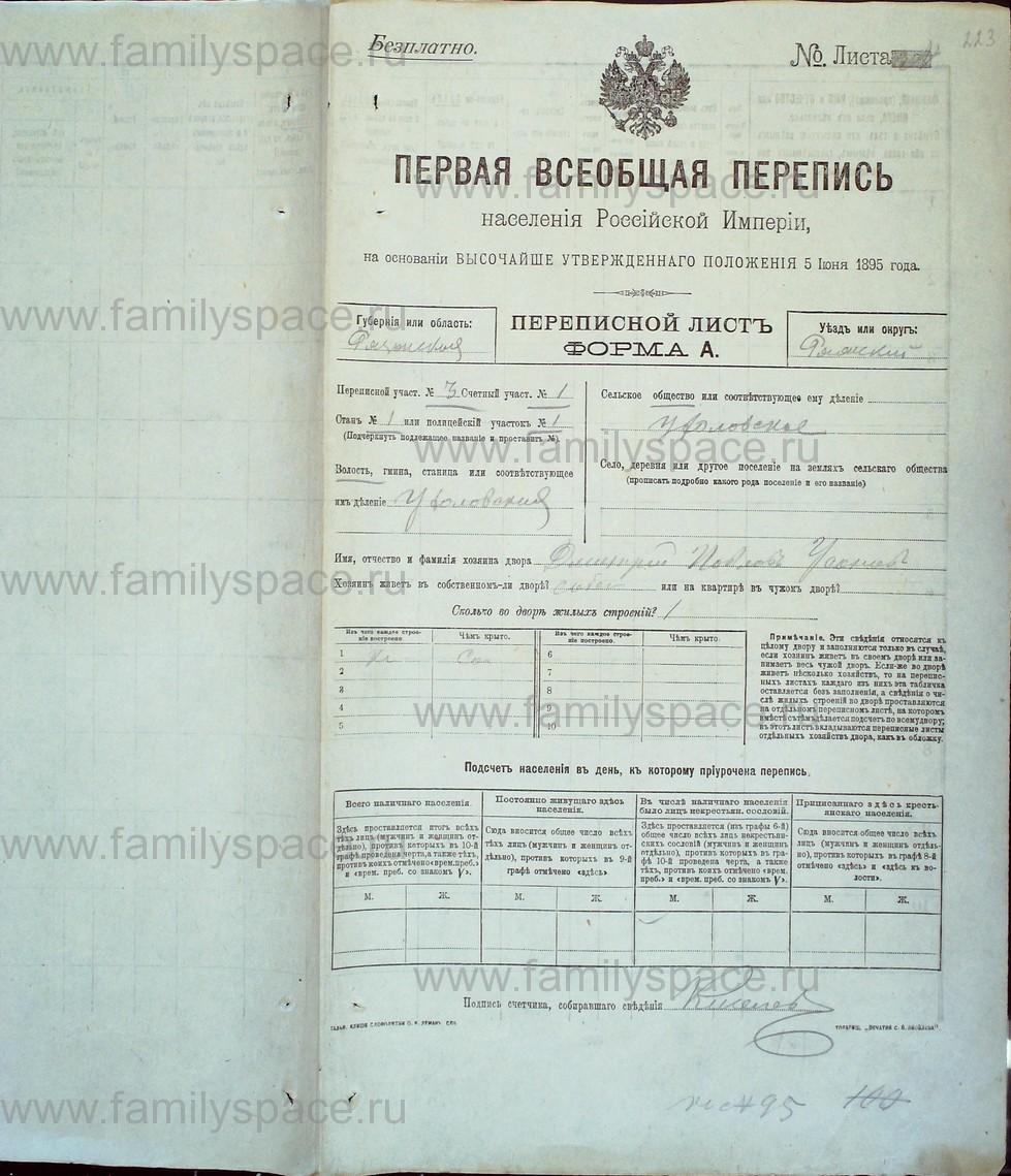 Поиск по фамилии - Первая всеобщая перепись населения Российской империи 1897 года, Рязанская губерния, Ряжский уезд, страница 1646