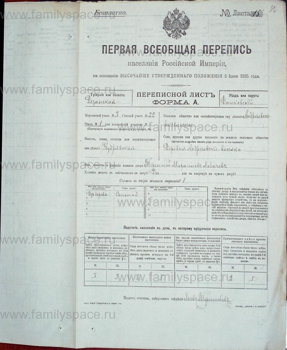 Поиск по фамилии - Первая всеобщая перепись населения Российской империи 1897 года, Рязанская губерния, Данковский уезд, страница 719