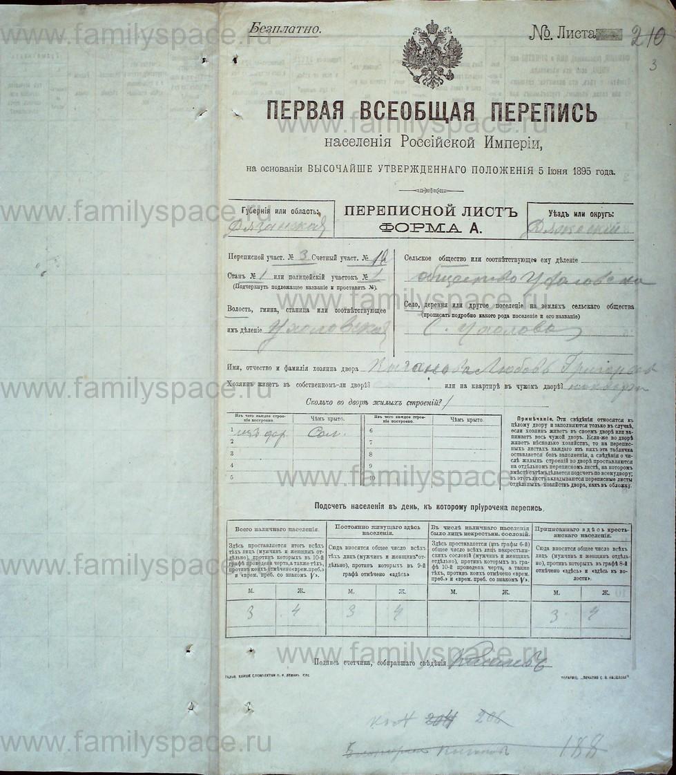 Поиск по фамилии - Первая всеобщая перепись населения Российской империи 1897 года, Рязанская губерния, Ряжский уезд, страница 3