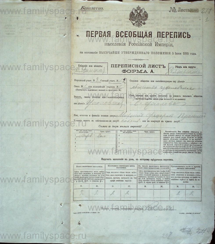 Поиск по фамилии - Первая всеобщая перепись населения Российской империи 1897 года, Рязанская губерния, Ряжский уезд, страница 1