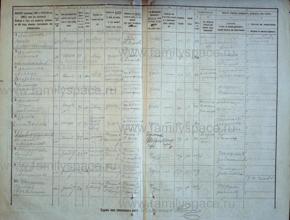 Поиск по фамилии - Первая всеобщая перепись населения Российской империи 1897 года, Рязанская губерния, Ряжский уезд, страница 1299