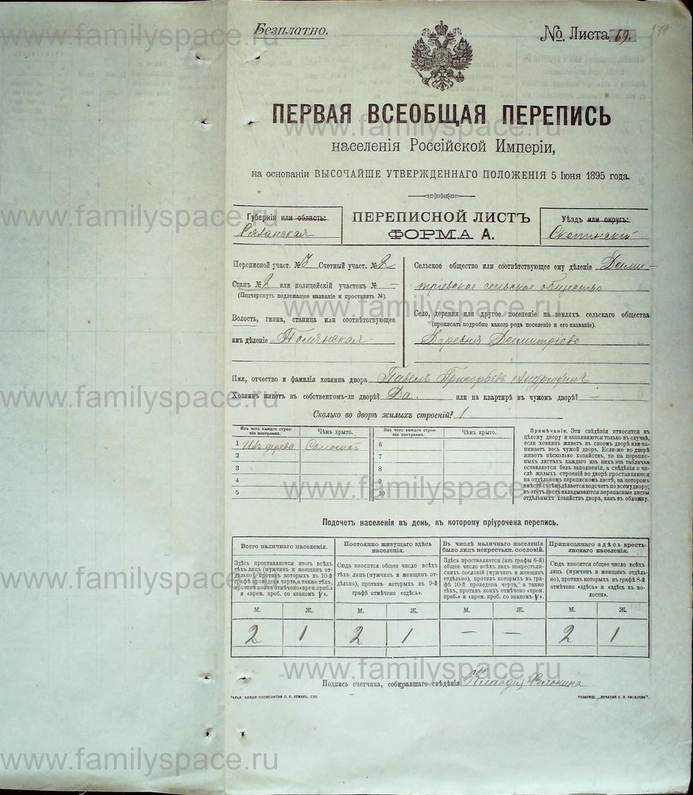 Поиск по фамилии - Первая всеобщая перепись населения Российской империи 1897 года, Рязанская губерния, Скопинский уезд, страница 2474