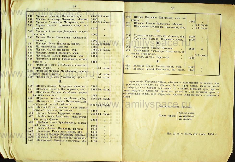 Поиск по фамилии - Список лиц, занимающих квартиры в домах частных владельцев г. Кострома 1895 г, страница 22