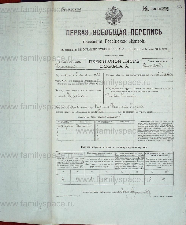 Поиск по фамилии - Первая всеобщая перепись населения Российской империи 1897 года, Рязанская губерния, Данковский уезд, страница 745