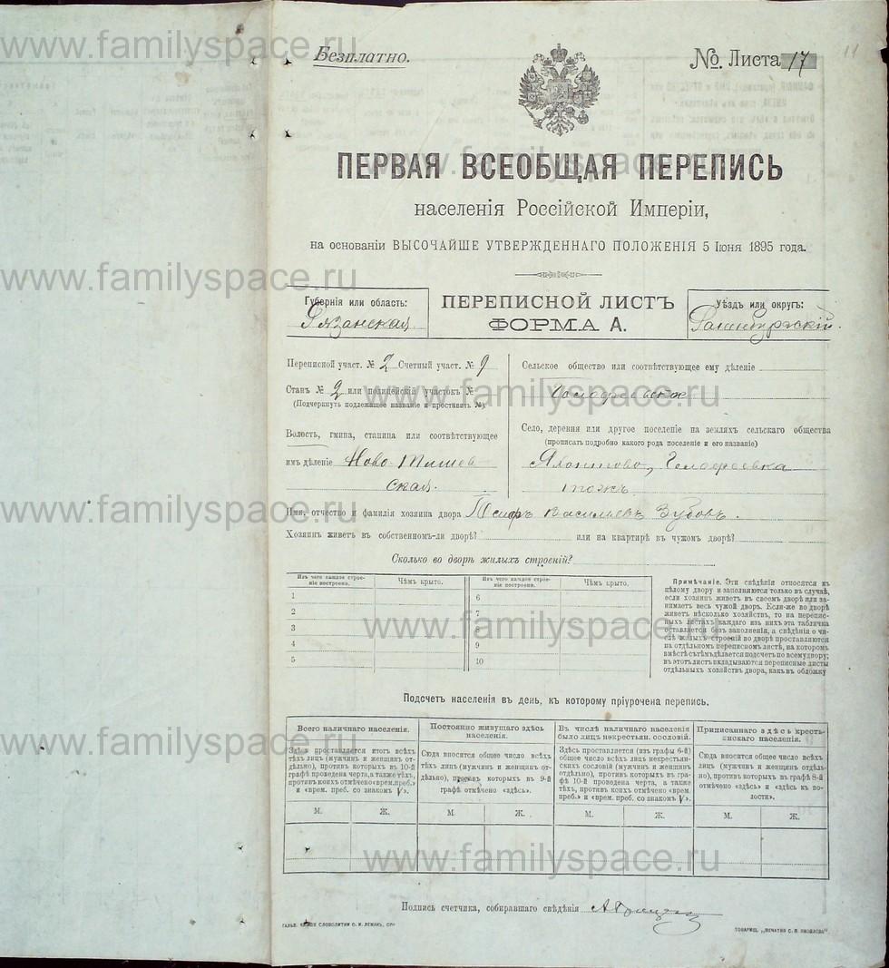Поиск по фамилии - Первая всеобщая перепись населения Российской империи 1897 года, Рязанская губерния, Раненбургский уезд, страница 11