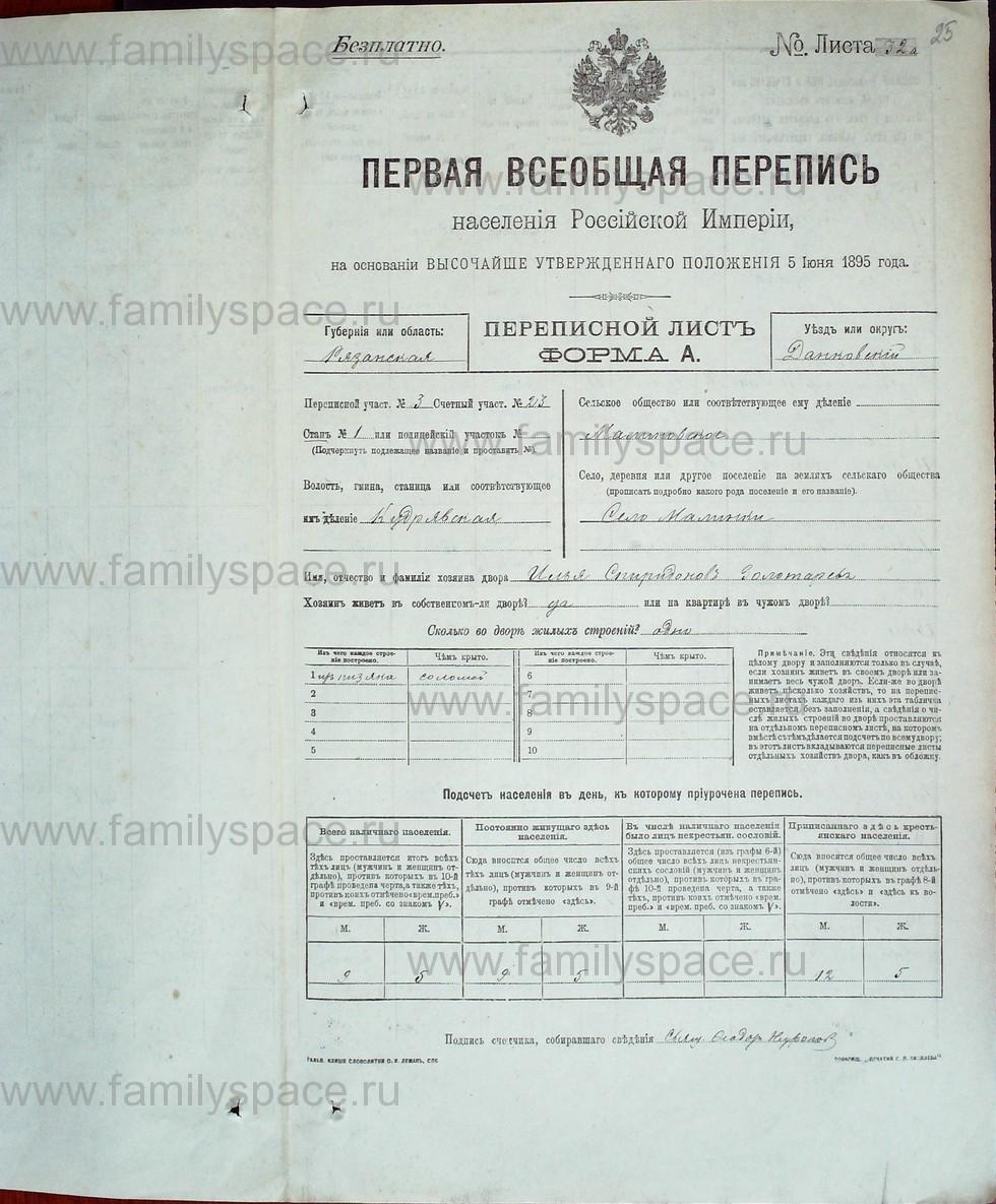Поиск по фамилии - Первая всеобщая перепись населения Российской империи 1897 года, Рязанская губерния, Данковский уезд, страница 539