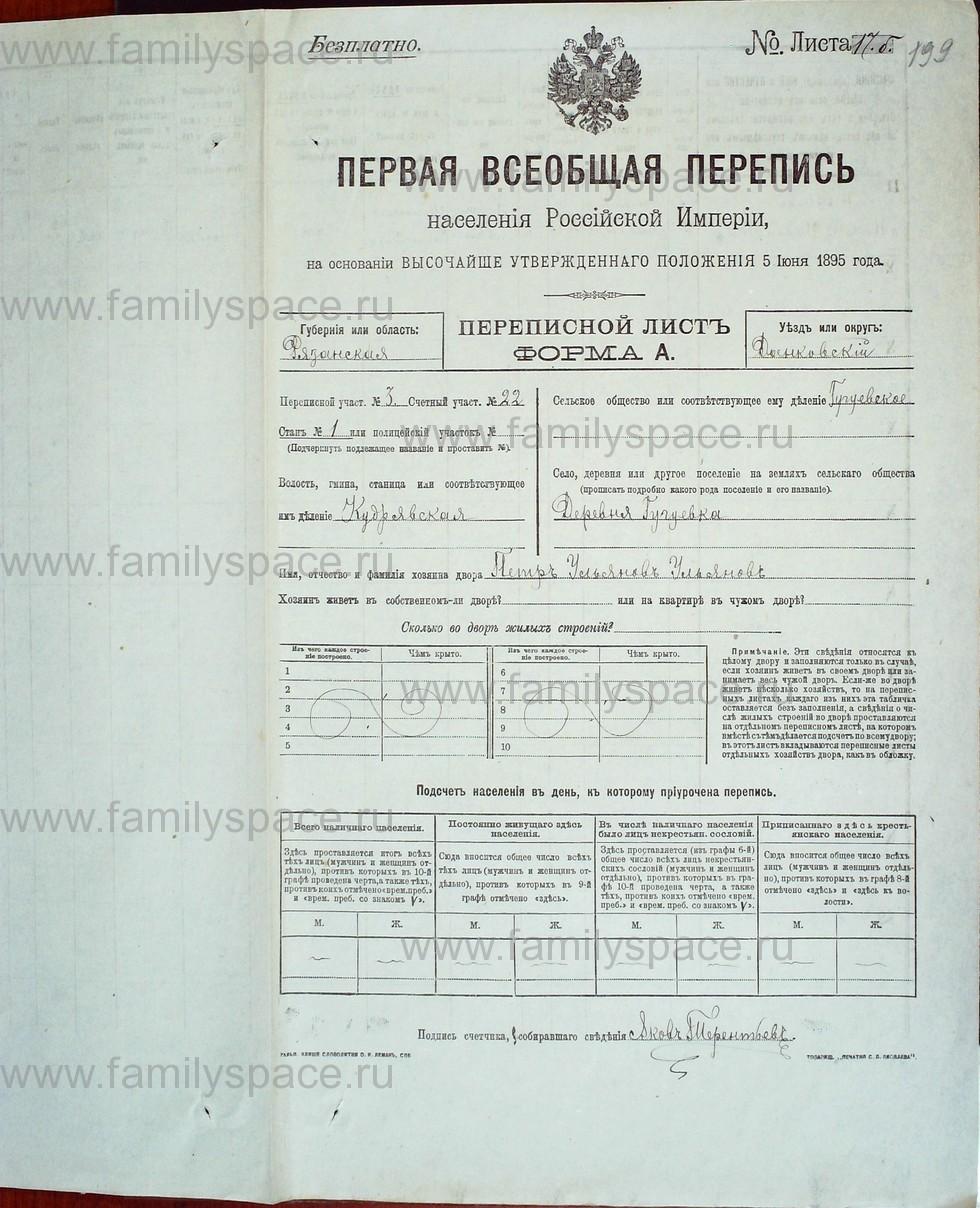 Поиск по фамилии - Первая всеобщая перепись населения Российской империи 1897 года, Рязанская губерния, Данковский уезд, страница 879