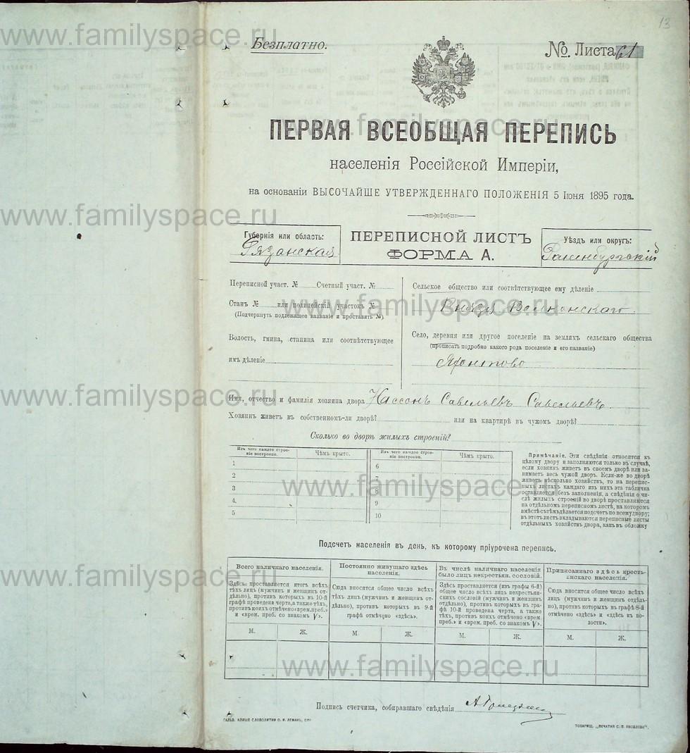 Поиск по фамилии - Первая всеобщая перепись населения Российской империи 1897 года, Рязанская губерния, Раненбургский уезд, страница 13