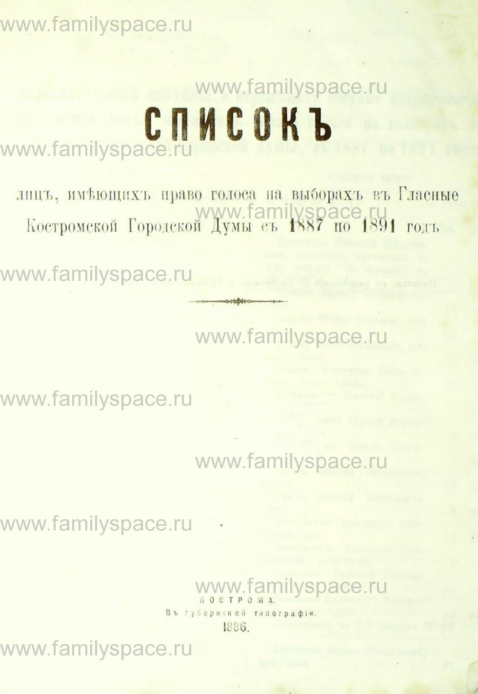 Поиск по фамилии - Список лиц, имеющих право голоса на выборах в гласные Костромской городской думы с 1887 по 1891 г , страница 1