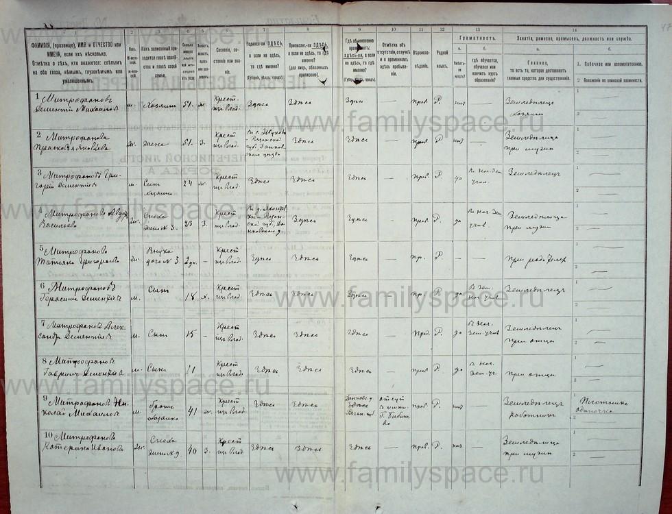 Поиск по фамилии - Первая всеобщая перепись населения Российской империи 1897 года, Рязанская губерния, Данковский уезд, страница 1247