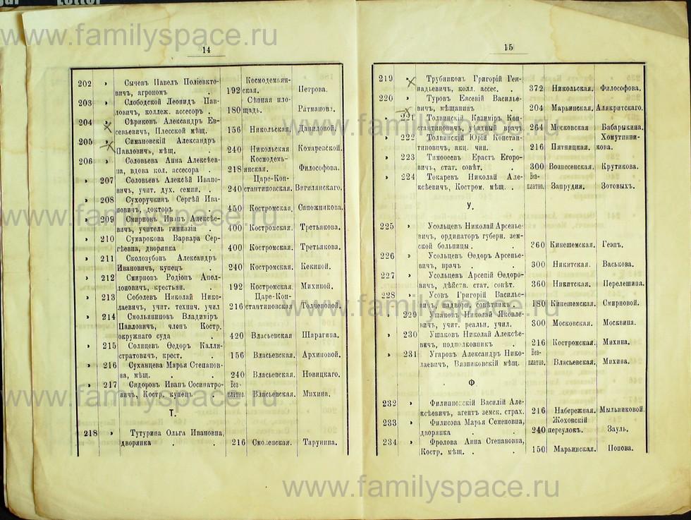 Поиск по фамилии - Список лиц, занимающих квартиры в домах частных владельцев г. Кострома 1895 г, страница 8