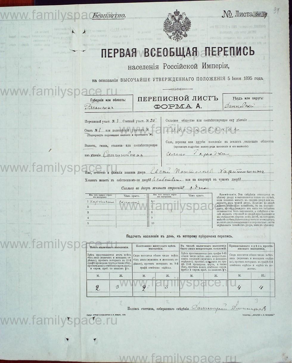 Поиск по фамилии - Первая всеобщая перепись населения Российской империи 1897 года, Рязанская губерния, Данковский уезд, страница 1291