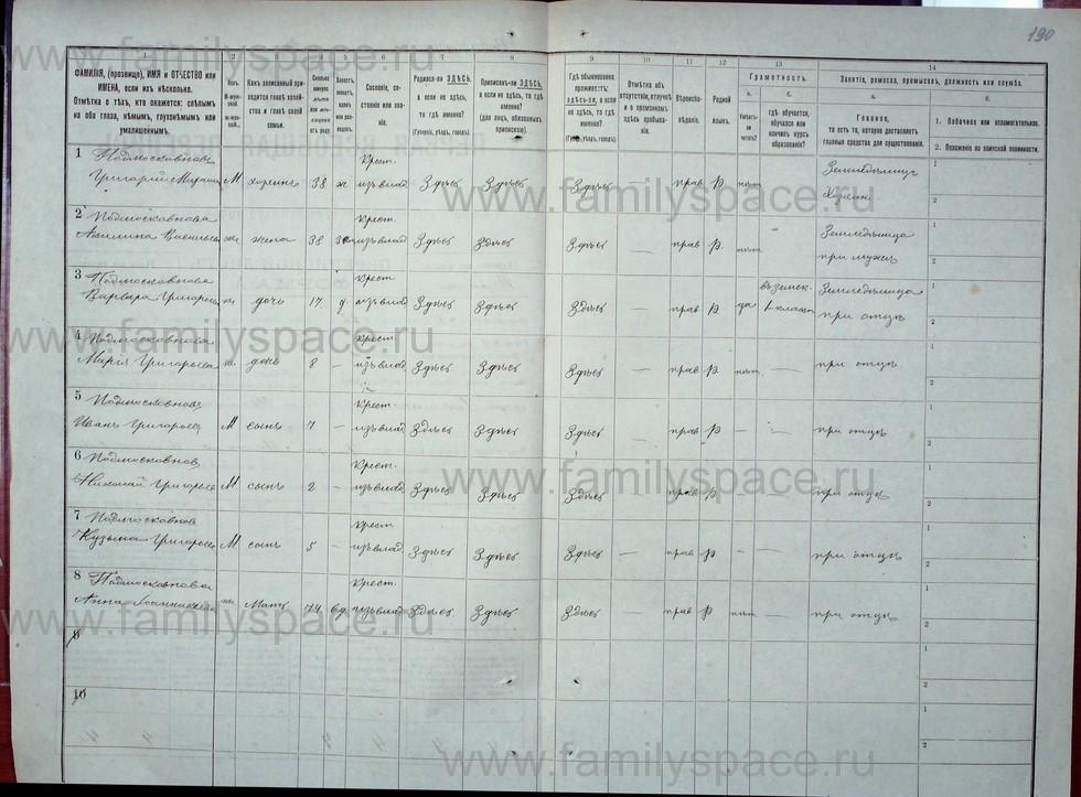 Поиск по фамилии - Первая всеобщая перепись населения Российской империи 1897 года, Рязанская губерния, Данковский уезд, страница 2161