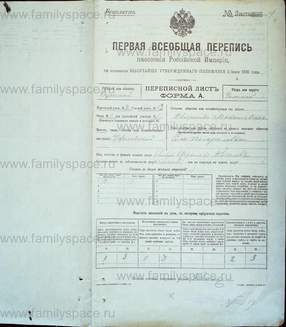 Поиск по фамилии - Первая всеобщая перепись населения Российской империи 1897 года, Рязанская губерния, Ряжский уезд, страница 1248