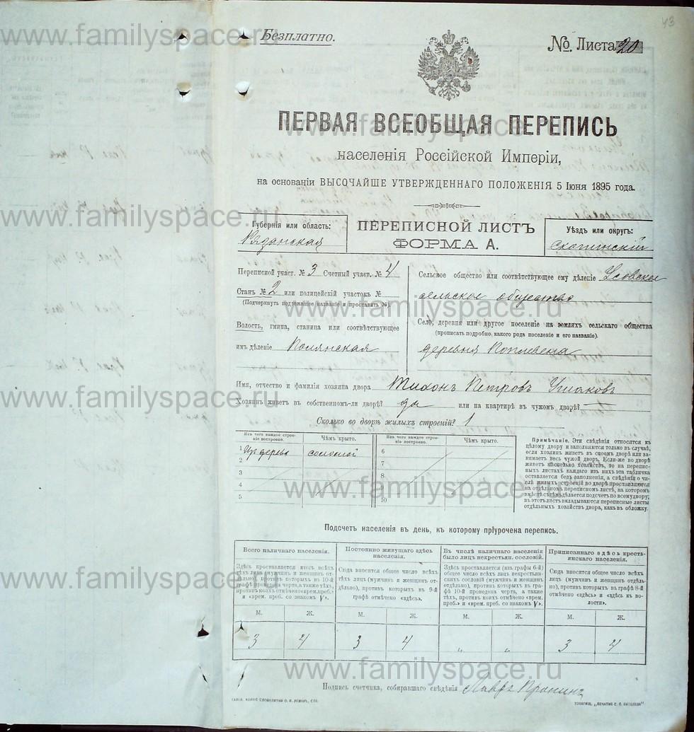 Поиск по фамилии - Первая всеобщая перепись населения Российской империи 1897 года, Рязанская губерния, Скопинский уезд, страница 567