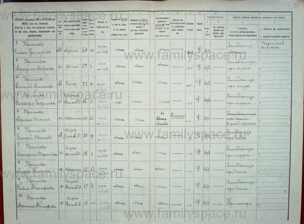 Поиск по фамилии - Первая всеобщая перепись населения Российской империи 1897 года, Рязанская губерния, Данковский уезд, страница 712