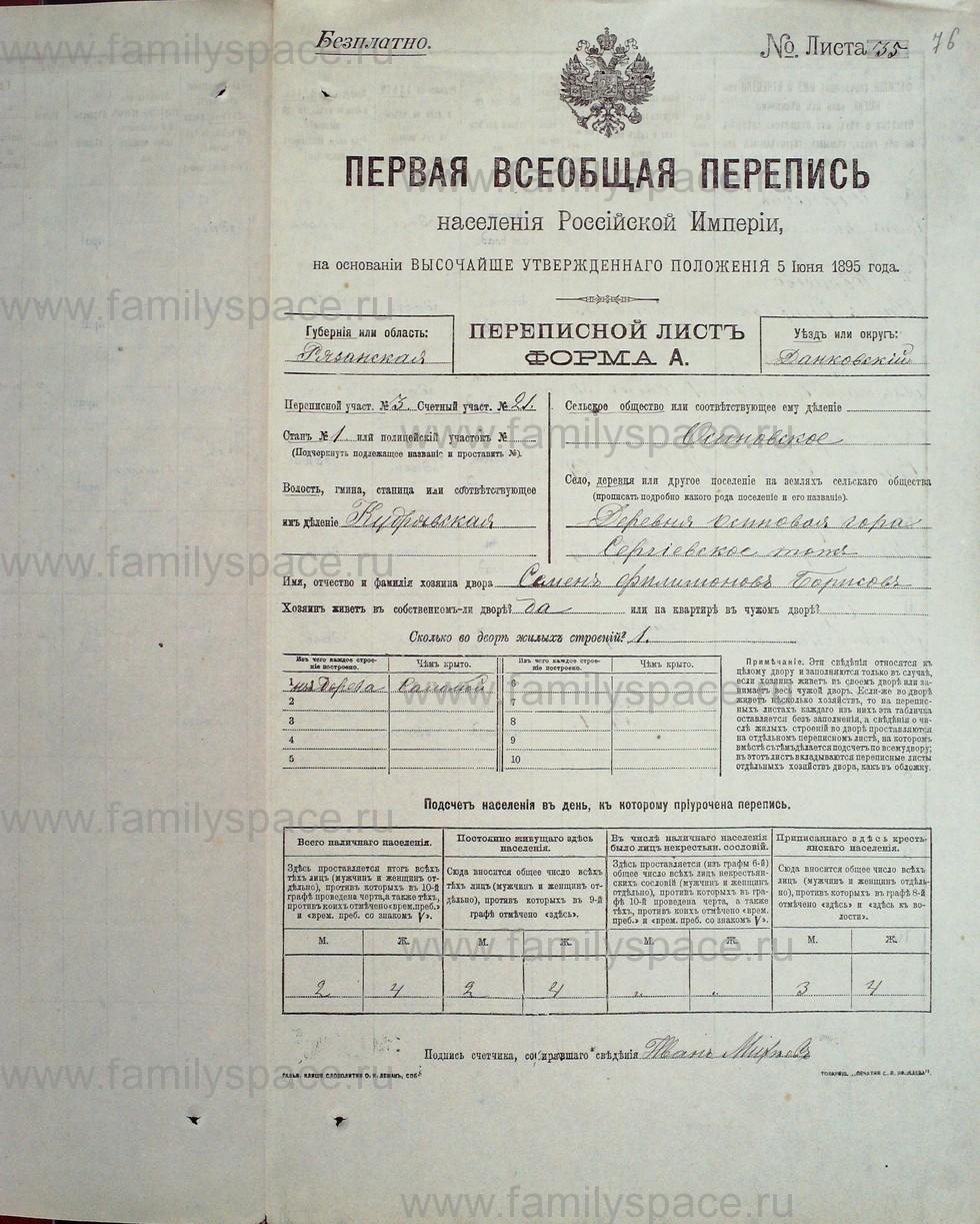 Поиск по фамилии - Первая всеобщая перепись населения Российской империи 1897 года, Рязанская губерния, Данковский уезд, страница 74