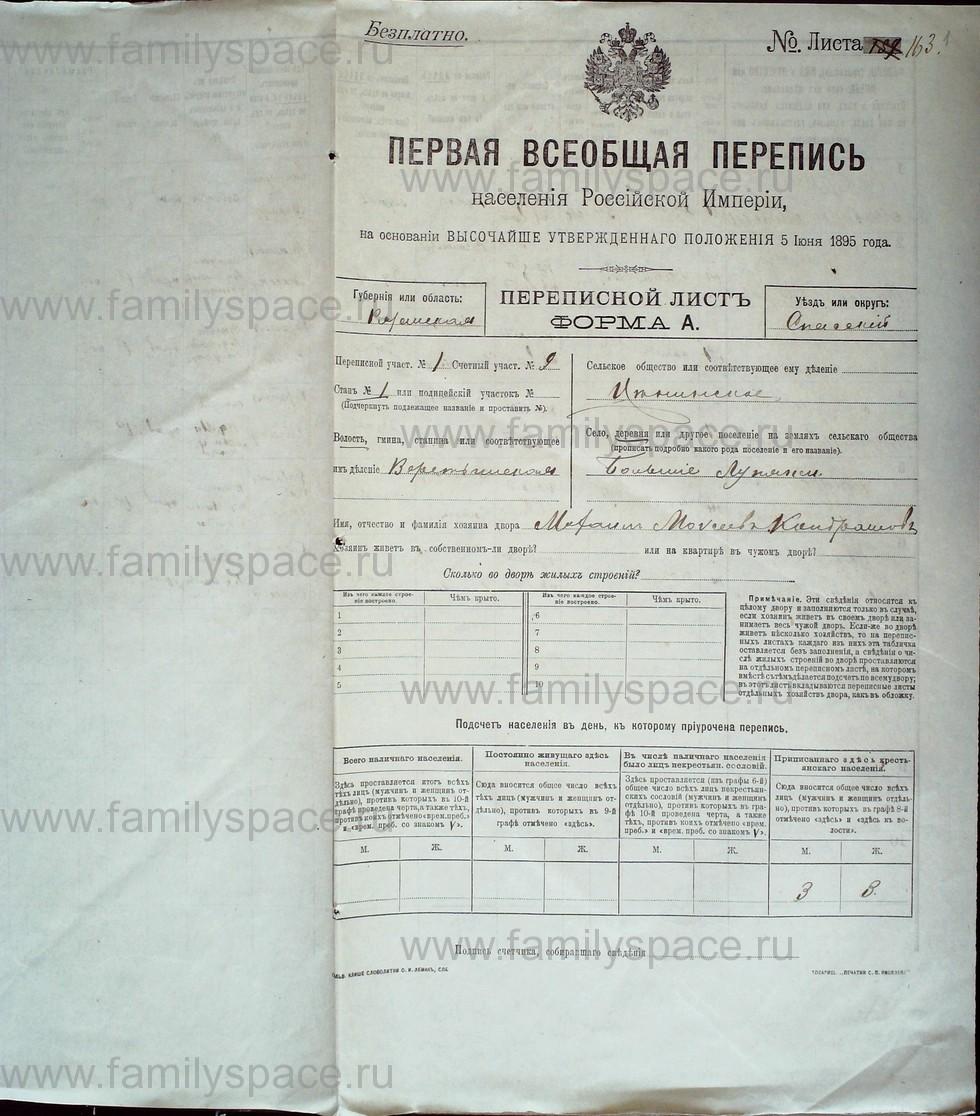 Поиск по фамилии - Первая всеобщая перепись населения Российской империи 1897 года, Рязанская губерния, Спасский уезд, страница 1