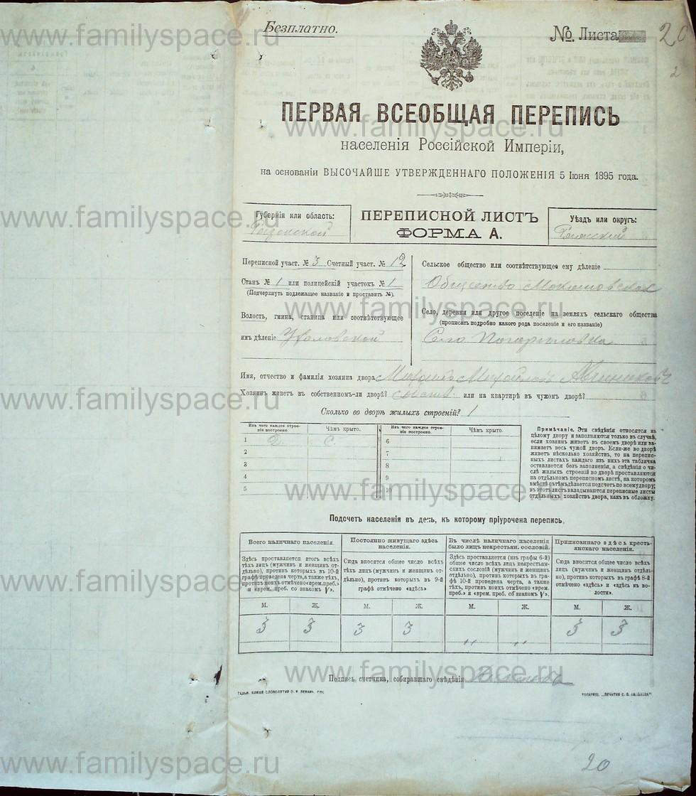 Поиск по фамилии - Первая всеобщая перепись населения Российской империи 1897 года, Рязанская губерния, Ряжский уезд, страница 1246