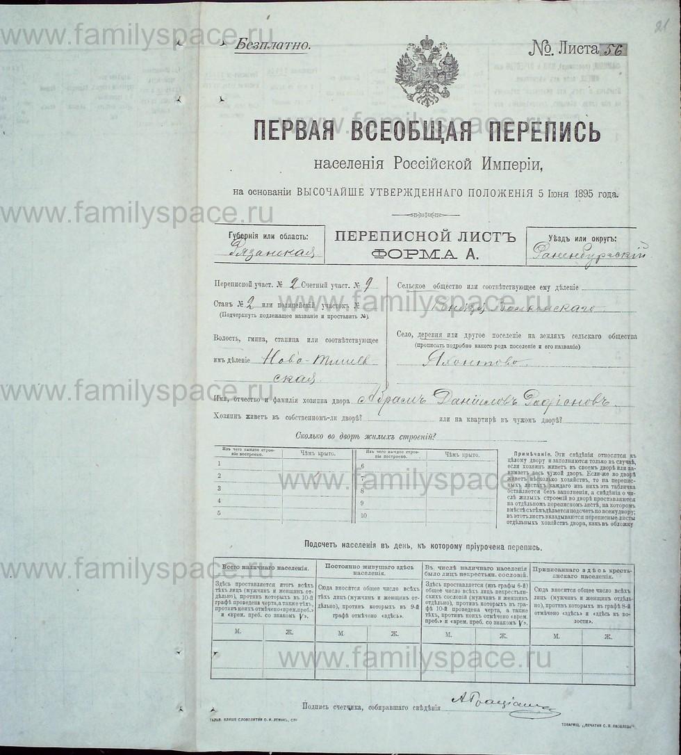 Поиск по фамилии - Первая всеобщая перепись населения Российской империи 1897 года, Рязанская губерния, Раненбургский уезд, страница 21
