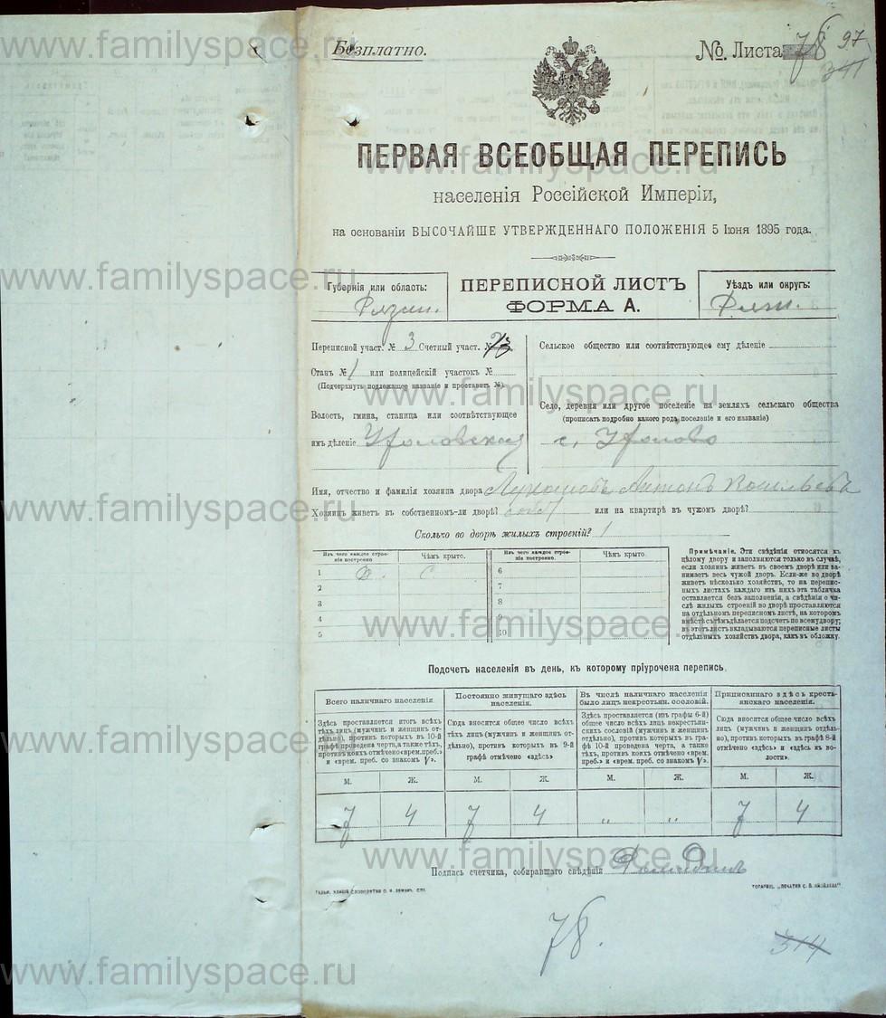 Поиск по фамилии - Первая всеобщая перепись населения Российской империи 1897 года, Рязанская губерния, Ряжский уезд, страница 855