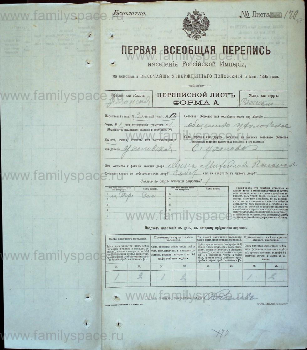 Поиск по фамилии - Первая всеобщая перепись населения Российской империи 1897 года, Рязанская губерния, Ряжский уезд, страница 1462