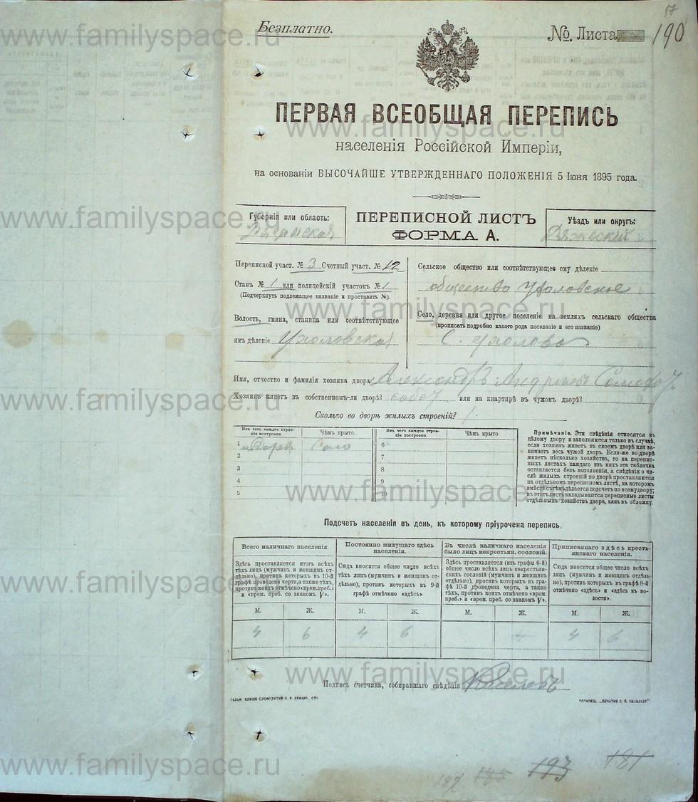 Поиск по фамилии - Первая всеобщая перепись населения Российской империи 1897 года, Рязанская губерния, Ряжский уезд, страница 1442