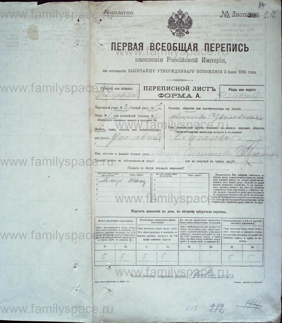 Поиск по фамилии - Первая всеобщая перепись населения Российской империи 1897 года, Рязанская губерния, Ряжский уезд, страница 80