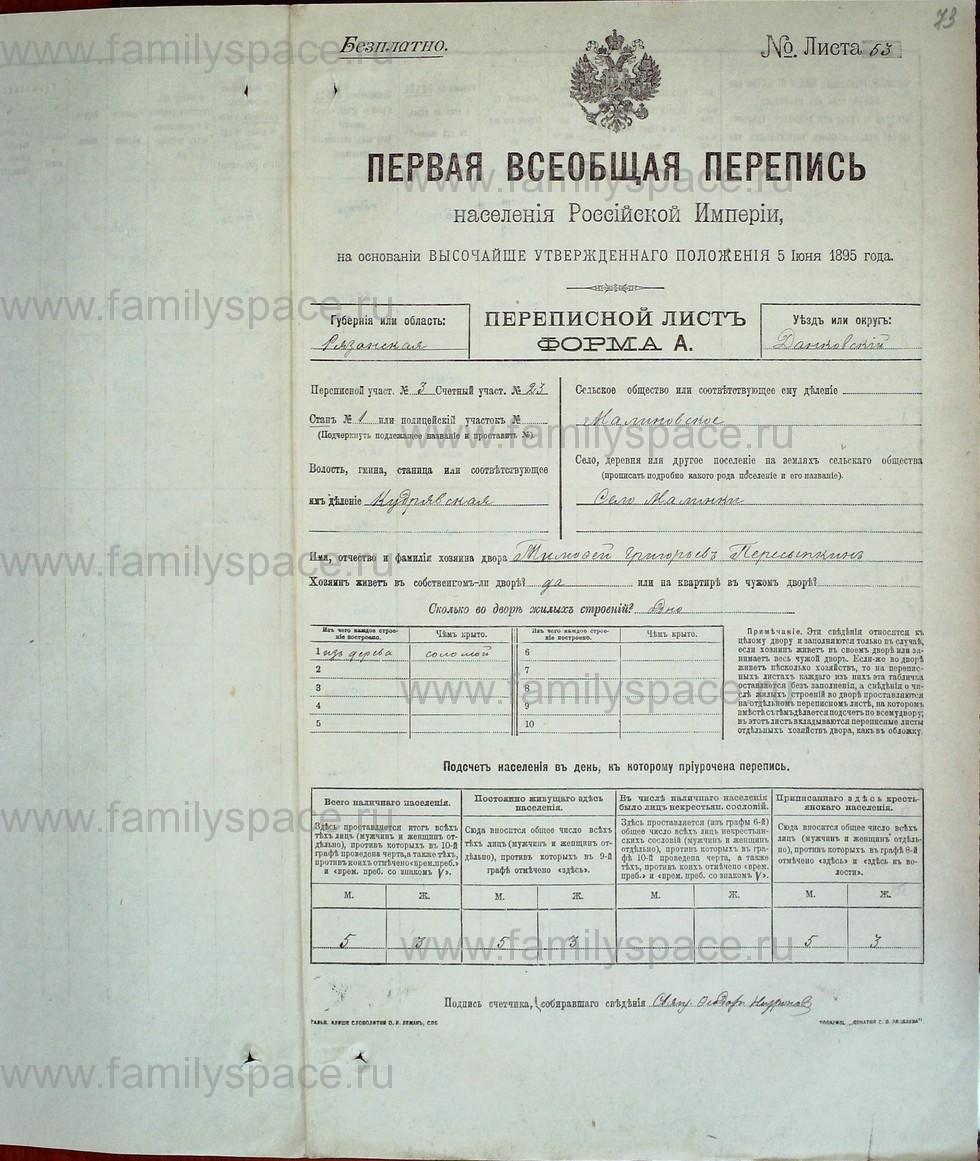 Поиск по фамилии - Первая всеобщая перепись населения Российской империи 1897 года, Рязанская губерния, Данковский уезд, страница 585