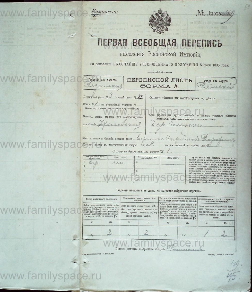 Поиск по фамилии - Первая всеобщая перепись населения Российской империи 1897 года, Рязанская губерния, Ряжский уезд, страница 193
