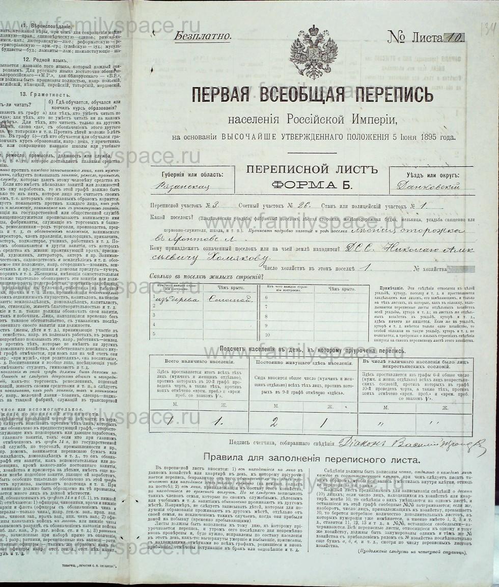 Поиск по фамилии - Первая всеобщая перепись населения Российской империи 1897 года, Рязанская губерния, Данковский уезд, страница 2427
