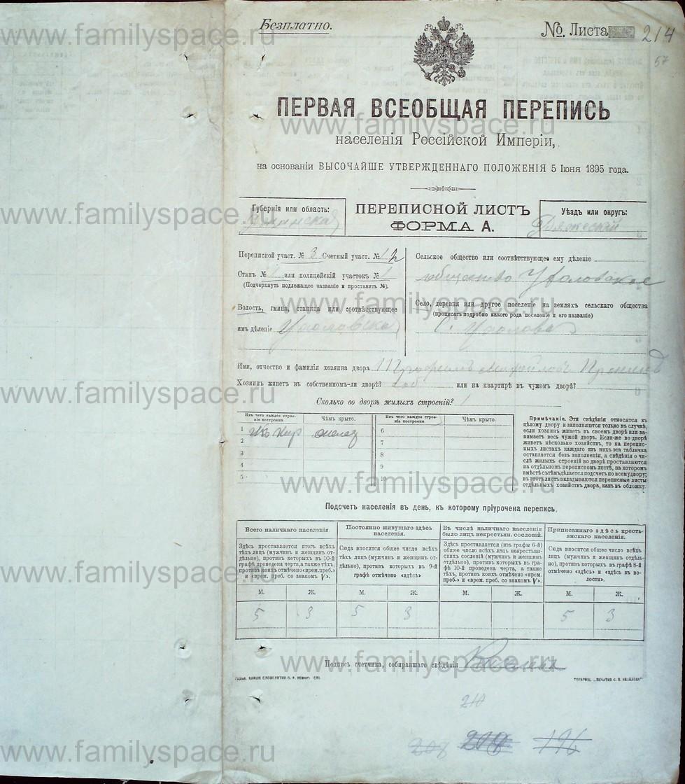 Поиск по фамилии - Первая всеобщая перепись населения Российской империи 1897 года, Рязанская губерния, Ряжский уезд, страница 1849